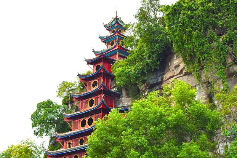 Religion Place Of Worship Tree Pagoda Architecture Spirituality Built Structure Travel Destinations History Ancient Shibaozhai Pagoda Shibaozhai Pogada Outdoors Building Exterior Roof Green Color Low Angle View Nature Sky EyeEmNewHere Wood - Material Hillside Pagoda Yangtze River Meditation