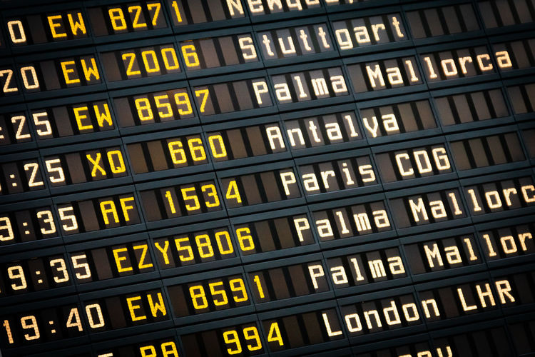 Full frame shot of arrival departure board