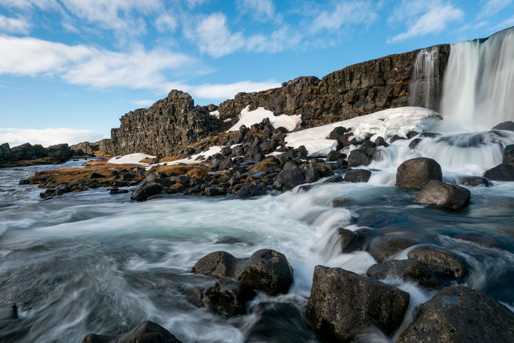 The oxararfoss waterfall in pingvellir thingvellir national park iceland