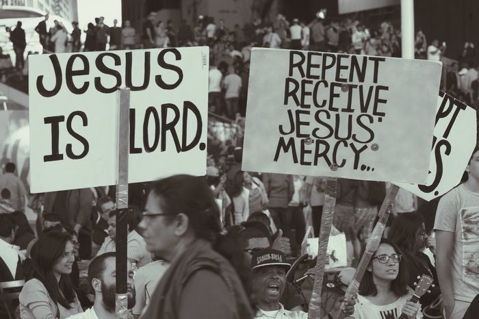 Jesus is Lord. Black And White Photography NYC Street Photography People Watching Signs Of Life Faith Praising The Lord Mercy  Evangelism Sony A6000 365project