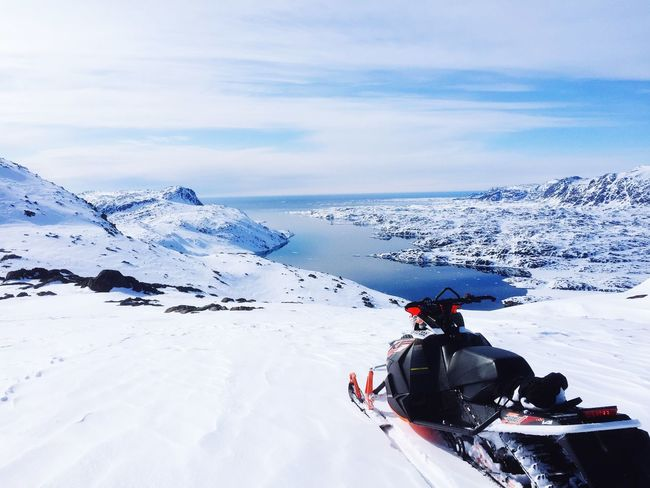Share Your Adventure Hello World Snowmobiling Greenland Relaxing Enjoying The View