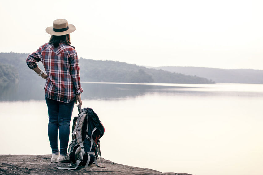 Travel Hat Lake Lifestyles Looking At View Mountain Nature One Person Outdoors Standing Water