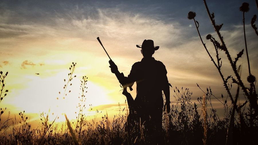 Man Holding Rifle While Standing Amidst Plants Against Sky