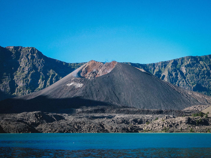 Mountain Scenics - Nature Sky Beauty In Nature Tranquil Scene Blue Tranquility Clear Sky No People Idyllic Non-urban Scene Nature Copy Space Water Day Mountain Range Volcano Geology Environment Outdoors Mountain Peak Formation Volcanic Crater Turquoise Colored View Into Land