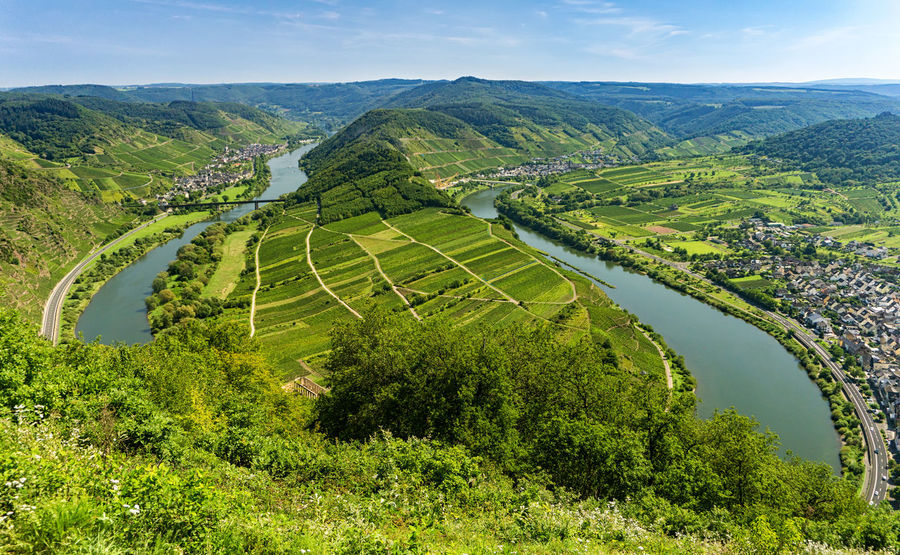 Calmont Bremm An Der Mosel Calmont Mosel Agriculture Green Color High Angle View Landscape Loop Moselle Nature No People River Rural Scene Scenics