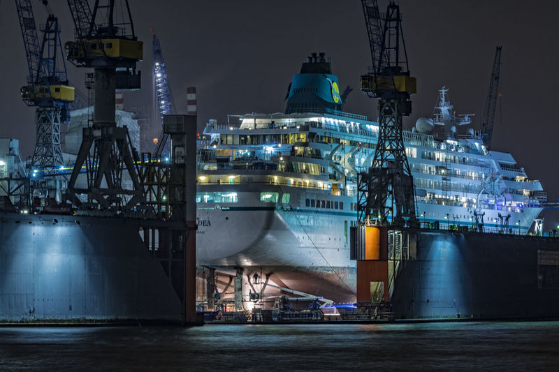 AMADEA Amadea Blohm + Voss Blue Commercial Dock Crane Cruise Ship Elbe River Engineering Hamburg Harbour Illuminated Night Night Photography Outdoors River Sky Travel Water