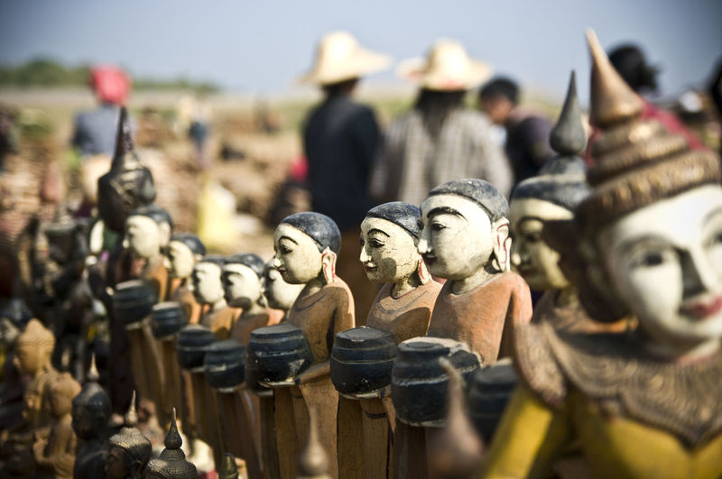 Art And Craft Art Is Everywhere Market Arts Culture And Entertainment Burma Close-up Day Human Representation Inle Lake Male Likeness Market Stall Myanmar No People Outdoors Sculpture Statue Wood - Material