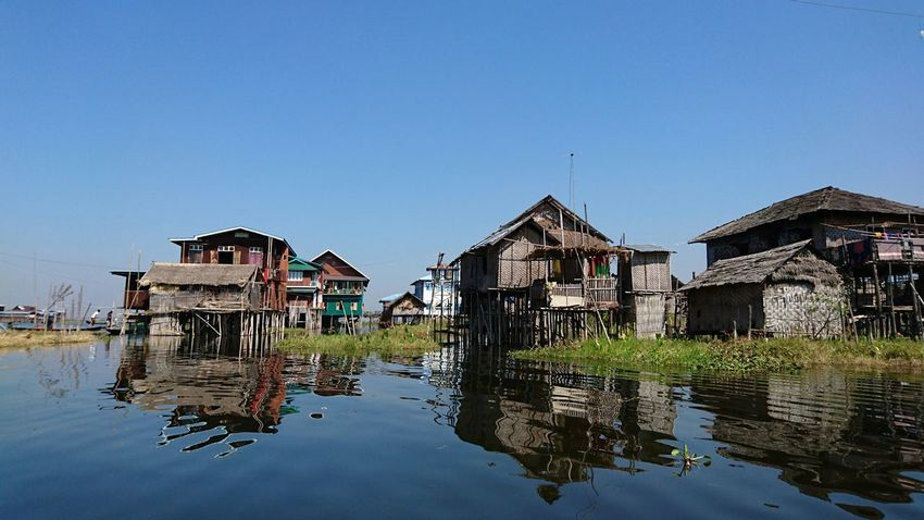 Floating villages around the lake. Inle Lake Silvia In Myanmar Discovering Places Travelling Photography Water Reflections