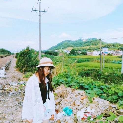 My friend took a picture of me👍🏻🤓 Only Women One Woman Only Adults Only Adult One Person Agriculture Mountain Sun Hat Rural Scene Women People Outdoors Cable Cloud - Sky Day Sky One Young Woman Only Nature Young Adult Electricity Pylon EyeEmNewHere