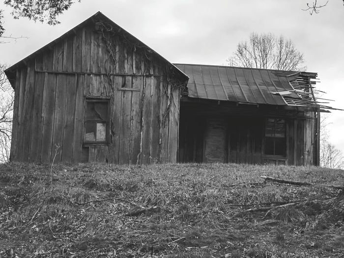 Abandoned No People Wood - Material Built Structure Outdoors Time Past Black And White