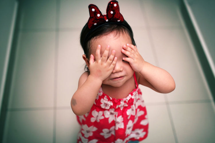 Innocence Omg Child Cute Disapointed Hands Covering Eyes One Person Portrait