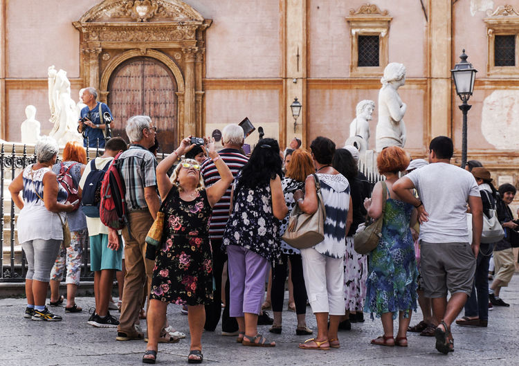 tourists in Palermo, Sicily, Italy Palermo Travel Travel Destinations Tourism Tourists Street Photography Streetphotography Statues Photography Crowd Large Group Of People Standing Lifestyles Street City Sicily