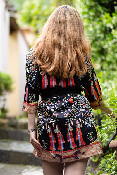 Back Person View Romantic Adult Blond Hair Casual Clothing Day Floral Pattern Focus On Foreground Hair Hairstyle Leisure Activity Lifestyles Long Hair Nature One Person Outdoors Plant Real People Rear View Romantic Garden Standing Three Quarter Length Woman Nature Women