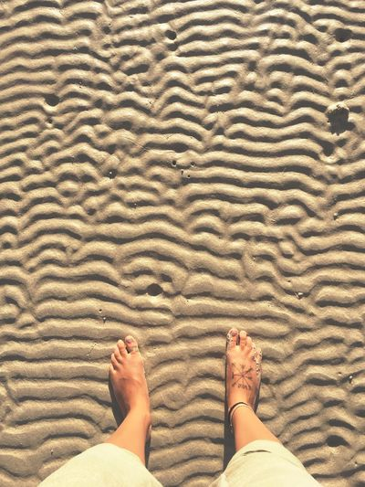 Bare Foot Vacation Bliss Sunny Day Tropical Summer Beach Thailand Tattoo Foot Human Leg Low Section Body Part Human Body Part barefoot One Person Personal Perspective Human Foot Real People Lifestyles Pattern Adult Standing Leisure Activity Sand Women Land High Angle View Nature Human Limb