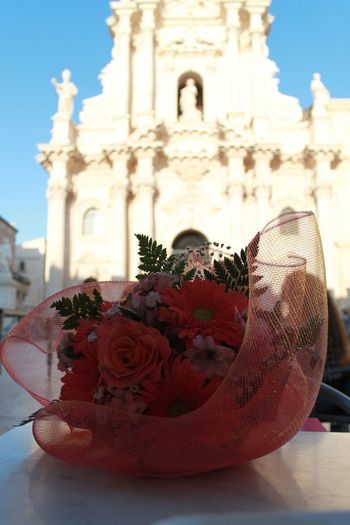 Siracusa ♥ Amazing Greektemple Sicily Italy Temple Athena Culumns Flower Place Of Worship Red Religion Sculpture Statue Spirituality Sky Close-up Architecture Monument Historic Ornate