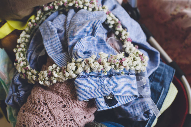 Floral garland on clothes