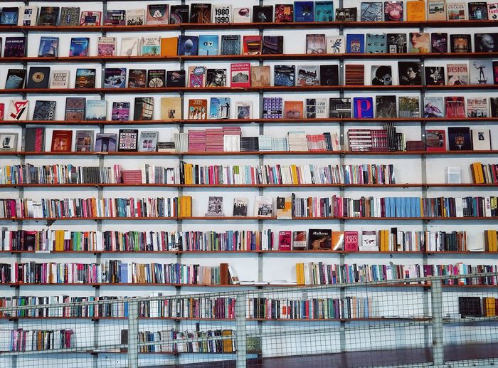 Full frame shot of books in library
