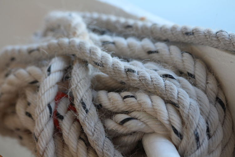 Close-up of tied up ropes