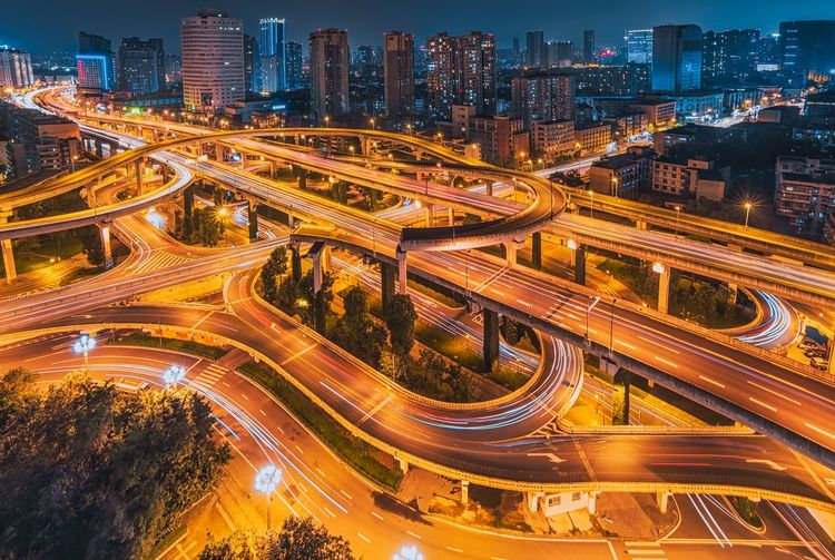 Flyover Sichuan Province Illuminated Building Exterior Architecture Built Structure Night Cityscape Road Street Transportation City Life High Angle View Traffic Modern Light Trail Office Building Exterior