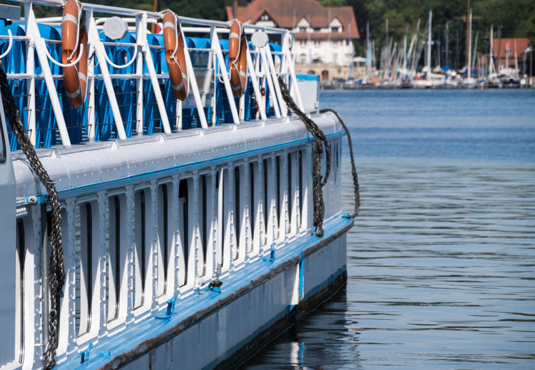 Ausflugsschiff Blue Boat Dampfer Focus On Foreground In A Row No People Passenger Boat Rippled Schiff Tranquil Scene Wannsee Water