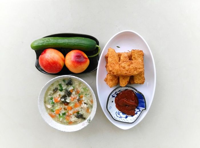 My Favorite Breakfast Moment Vegetable Porridge Fruits ♡ Ketchup Enjoy Life Breakfast ♥ Moments Of Life Cooking Time Cooking At Home Goodmorning :)