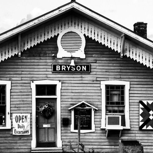 Exterior of a railway station ticket office located at Bryson City NC Antique Architecture Bryson City NC Building Exterior Built Structure Great Smoky Mountains  Historic No People Outdoors Train Station Vintage