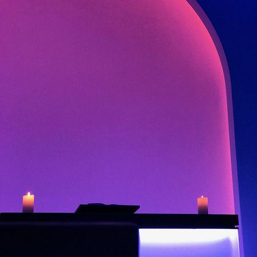 Illuminated purple wall