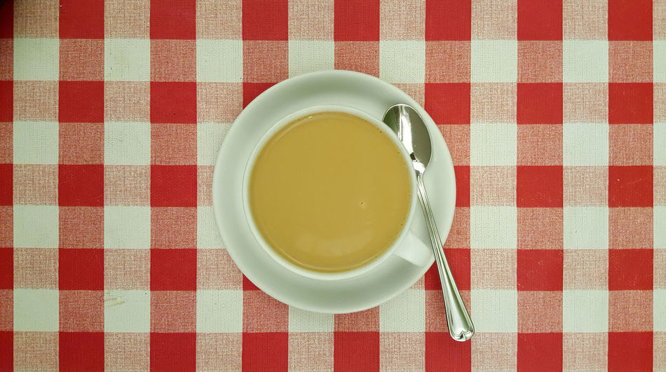 Cafe Checked Pattern Coffee Coffee Cup Coffee Time Cup Drink Food Milk Pattern Red Russian Squares Table Tablecloth
