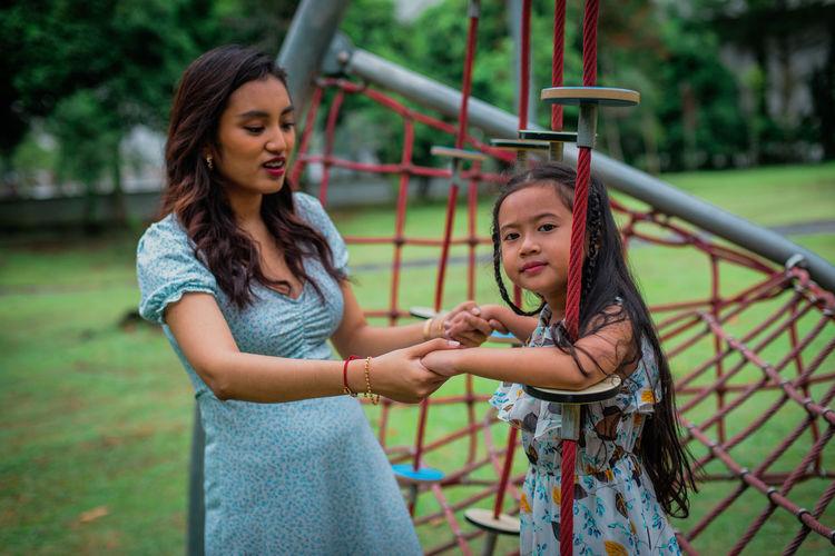 Full length of girl in playground