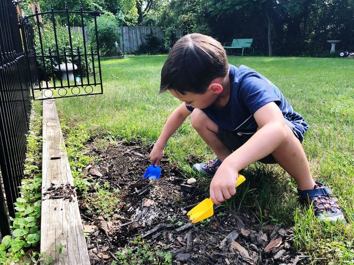 Boy plays in dirt Playing EyeEm Selects Child One Person Plant Real People Lifestyles Leisure Activity Casual Clothing Nature Grass Childhood Day Front Or Back Yard Sunlight Green Color Outdoors Boys