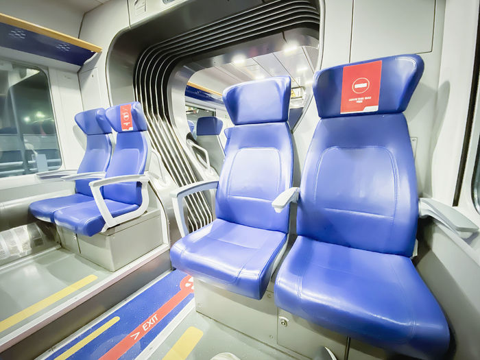 High angle view of empty seats in bus