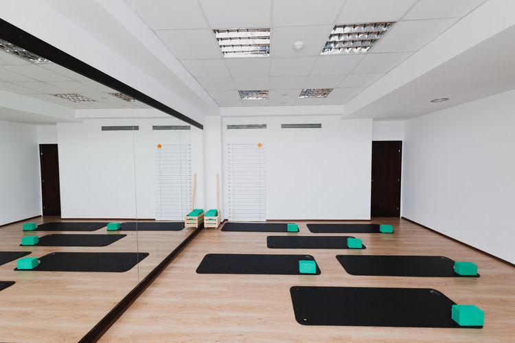 Interior of empty yoga studio