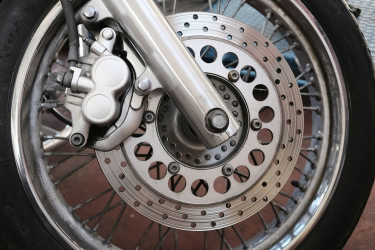 Modern Motorcycle Wheel Brake Chrome Detail Disc Equipment Machine Part Moto Silver Colored Steel Technology Tire Transportation Wheel