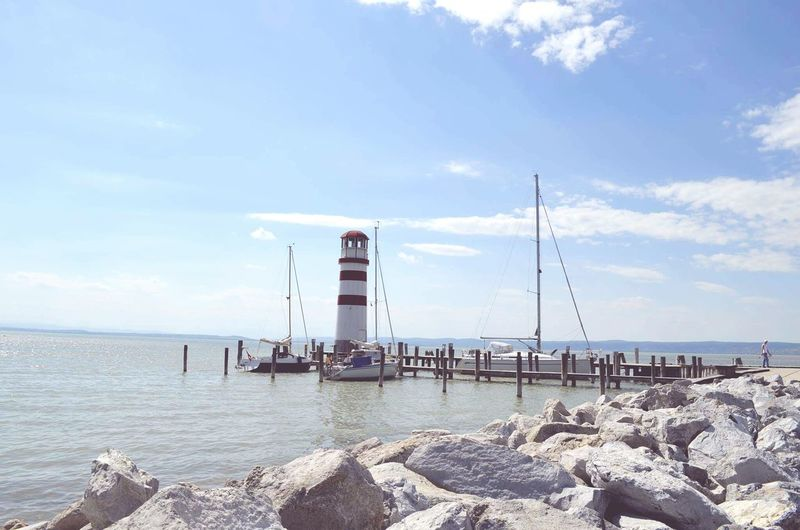 Neusiedler See Water Lighthouse Beauty In Nature Outdoors Cloud - Sky Sky Horizon Over Water Nature Sailing Ship Nature Walk Day Nature Trip Beautiful Day Your Ticket To Europe