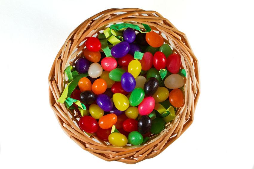 Basket Candy Easter Easter Easter Basket  Jellybean Jellybeans Multi Colored Spring Springtime Studio Shot Temptation White Background Wicker
