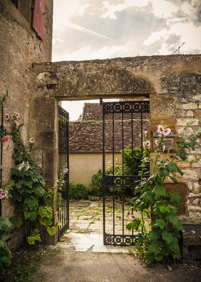Architecture Building Exterior Built Structure Burgundy Day Entry France Gate Growth Historical Building Nature No People Outdoors Plant Rosedal Sky Stonewall Summer