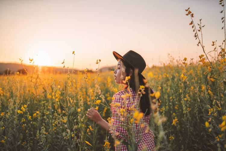 Rear view of woman standing amidst plants during sunset