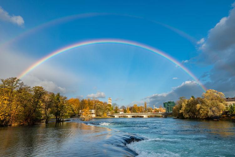 Rainbow over trees against sky