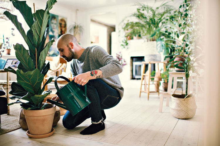 Side view of young man looking at potted plants