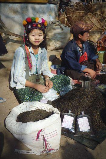 Market Tea Girl Sale Burma Travel