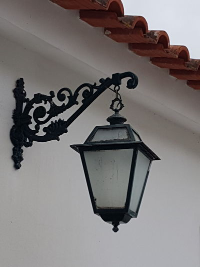 Low angle view of lantern hanging