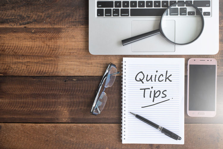 quick tips concept Advise Assist Business Concept Connection Day Directly Above Expert Flat Lay Help High Angle View Hint Information No People Office Quick Quick Tips Search Technology Tips Top View Tricks