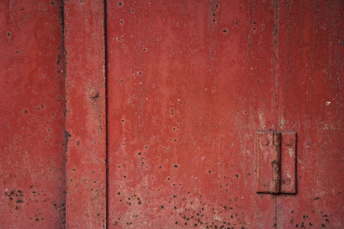 Instigator Hinge Red Backgrounds Bent Close-up Dated Day Door Full Frame Metal Metallic No People Outdoors Pattern Red Rusty Textured  Weathered