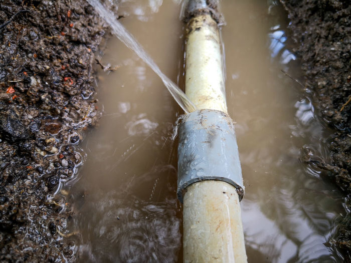 Upvc pipe burst. waste water from pipe leaking.