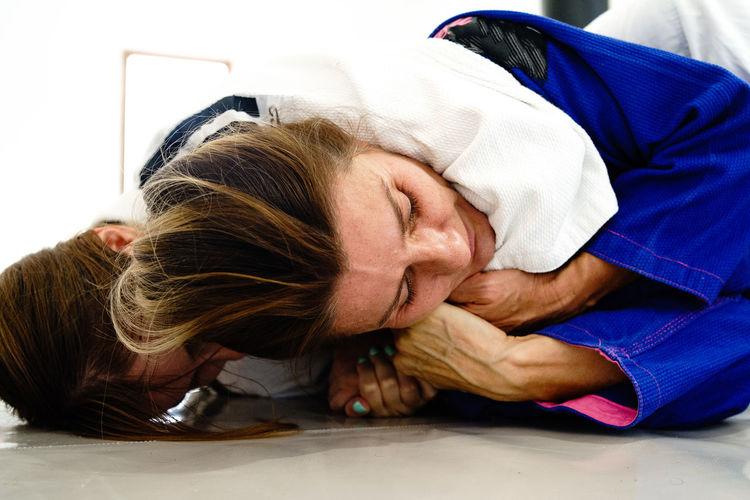 Women practicing judo