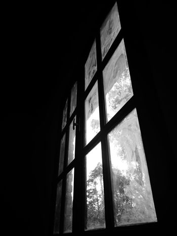 Tanu B&w EyeEm Selects Window Indoors  Low Angle View No People Architecture Built Structure Day Black Background Close-up Sky
