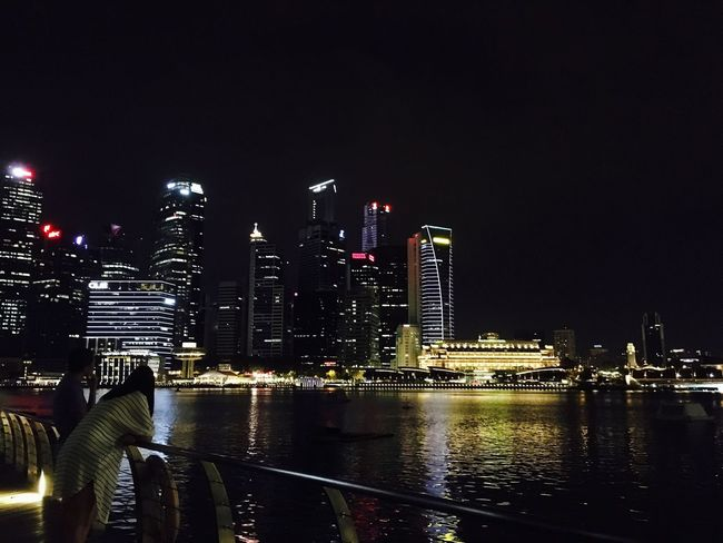 Singapore at night. Lovers Night Lights Architecture