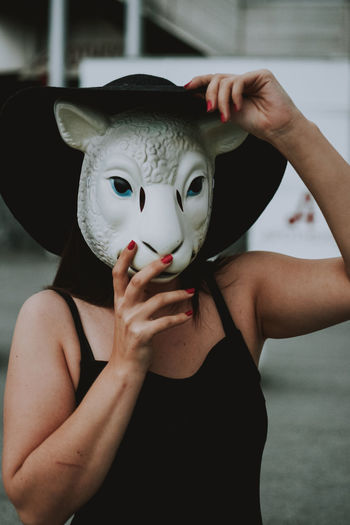 Portrait of woman wearing mask