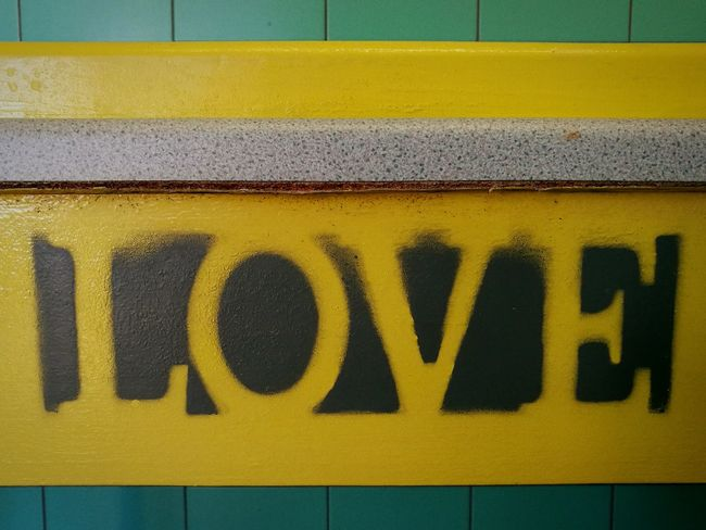 Yellow Text Communication No People Close-up Yellow Color Love Love Photography Beachlife Randomness Kindness Blue