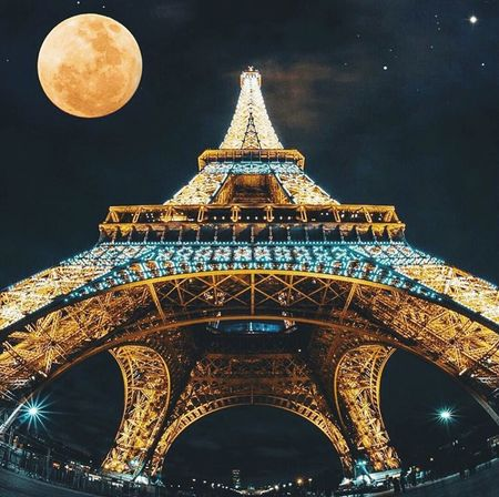 Paris Gold Colored Scenics Architecture Night Moon Gold No People Sky Travel Travel Destinations Tree Outdoors Dome Cloud - Sky
